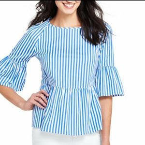 Lands End Blue Striped Peplum Bell Sleeve Top